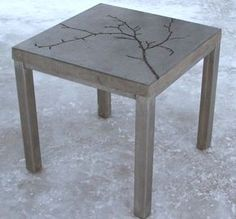Diy Concrete Table So Doing This Add Leaves And Other Nature Stuff Before