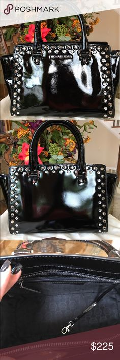 Michael Kors Satchel MK authentic black patent leather Selma satchel. Has silver studs and rhinestones. Includes detachable shoulder strap and dust bag. Carried twice. Like new. Excellent condition. MICHAEL Michael Kors Bags Satchels