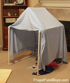 Use PVC pipe to make a stable frame for a play tent or fort - fun!! #kidsactivities