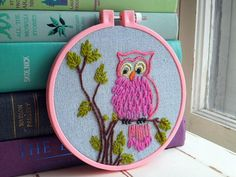 Embroidered Wooland Owl Hoop Art / Wall Art - Vintage 70s Crewel Embroidery on Etsy.