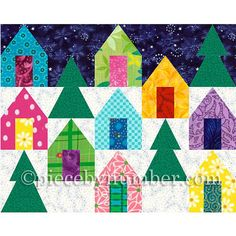 Cozy Cabins quilt block pattern paper by PieceByNumberQuilts, $3.00
