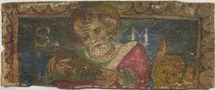 • TAVOLA II bis cm 43 x 17,5 x 2 SAN MARCO Retro del legno in discrete condizioni, con qualche foro di tarlo; pellicola pittorica solida. Osservando il bordo superiore sinistro di questa tavola, si può vedere distintamente come la pittura sia stata eseguita su una vecchia preparazione: infatti, la decorazione a festoni che la incornicia continua dalla zona completa d'imprimitura a quella più esterna che ne è priva. Tipica figura d'apostolo, frontale, nimbato, rivestito d'un manto color…