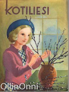 Kotiliesi 6/1942  Kansi Martta Wendelin. Magazine Illustration, Foreign Language, Children's Books, Martini, Finland, Illustrations, Deco, Painting, Inspiration