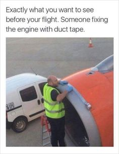 #memes worker fix airplane with duct tape.