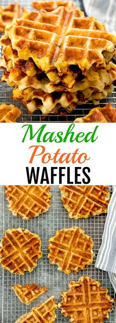 Mashed Potato Waffles. A great use for leftover mashed potatoes and a fun brunch idea.