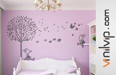 Una bonita decoración con vinilos infantiles de niña. Ideal para hermanas y habitaciones compartidas. Visita la colección http://vinilvip.es/tienda/es/vinilos-bebe/pijama/
