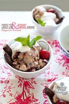 Vegan Chocolate Cherry Ice Cream | on FamilyFreshCooking.com © MarlaMeridith.com