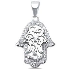 Hand of God Pendant Charm Filigree Hamesh Round Pave Cubic Zirconia 925 Sterling Silver Choose Color Sterling Silver Bracelets, Silver Necklaces, Sterling Silver Pendants, Evil Eye Jewelry, Evil Eye Charm, Silver Filigree, Silver Metal, Trendy Jewelry, Metal Stamping