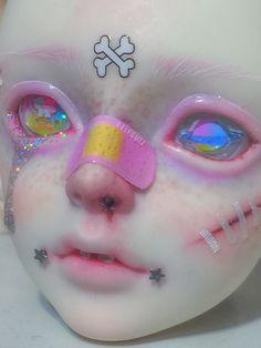 All Personal Feeds Aesthetic Makeup, Aesthetic Art, Ooak Dolls, Art Dolls, Pastel Punk, Kawaii Doll, Creepy Cute, Doll Repaint, Creative Makeup