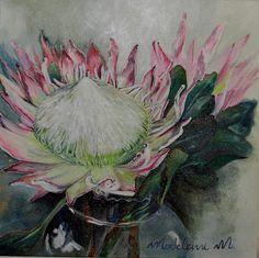 30 cm x (sold) Art Flowers, Flower Art, Protea Art, South African Artists, King Art, Painting Inspiration, Plank, Flora, Colours