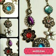 """Xiao yi yu necklace. Faux rhinestones. 21.5"""" Xiao yi yu necklace. Resin faux rhinestones. Brass tone chain.  21.5"""" long with a 2"""" extender. Fun costume jewelry piece. Xiao Yi Yu Jewelry Necklaces"""