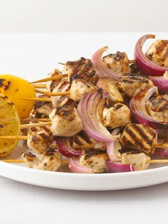 Grilled Greek Chicken Kabobs — Enjoy classic Greek flavors in your kabobs when you let chicken soak up a Mediterranean marinade before grilling.