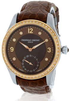 Frederique Constant Stainless Steel Ladies Watch , Women's, Brown Size: One Size Fits All Waterproof Watch, Vintage Style Dresses, Watch Case, Boutique, Stainless Steel Case, Fashion Watches, Brown Leather, Bracelet, Lady