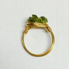 Made a Peridot gold wire wrapped ring!