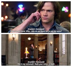 Supernatural 5x17 // 12x17<<I LOVE cassies new voicemail. He's hilarious