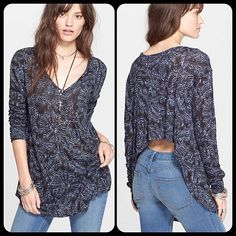 FREE PEOPLE Sahara Asymmetrical Hem Hi Low Blouse NWT Free People asymmetrical hem blouse. Retails $78. Black color with a beautiful lilac print. Cascades down the back and flows beautifully! Bundles welcome! Free People Tops Blouses