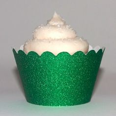 Platinum Glitter Emerald Green Reusable Cupcake Wrappers