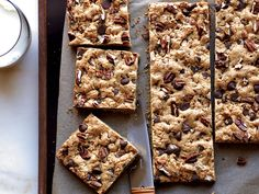 Whole Wheat Chocolate Chip-Pecan bars Feel free to swap walnuts or almonds for the pecans, or use half nuts and half dried cranberries for tart, chewy bars. More Delicious Cookies . Passover Desserts, Passover Recipes, Cookie Desserts, Cookie Bars, Just Desserts, Cookie Recipes, Delicious Desserts, Dessert Recipes, Pecan Desserts