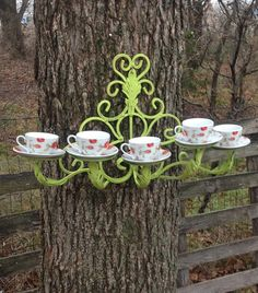 French Inspired Tea Cup Bird Feeder - Hanging Outdoor Decor - Bird Lovers