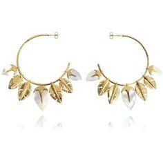 Aurelie Bidermann Designer Earrings Talitha Hoop Earrings (€415) ❤ liked on Polyvore featuring jewelry, earrings, golden jewelry, golden earring, aurelie bidermann earrings, golden hoop earrings and 18 karat gold earrings