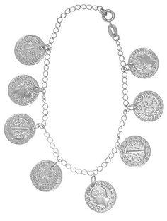 Pulseira Cigana folheada a prata com moedas