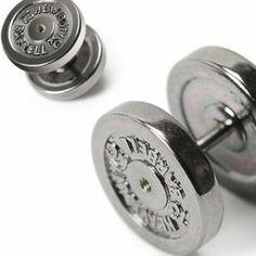 Black Plated Stainless Steel 12mm Dumbbell Fake Expander Stud Earring  Men's Jewellery #mensfashion #mensjewellery www.urban-male.com