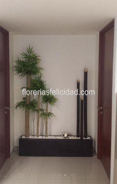 Jardineras artificiales de bambu | Arreglos florales artificiales.    En un estilo elegante contemporaneo la mejor decoracion para tus espacios.