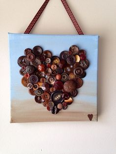 Handmade button heart, button mosaic,  heart art