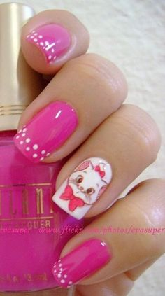 The Aristocats 'Marie' Nails....wouldn't do the charachter nail. Pink & white polka dots are cute!