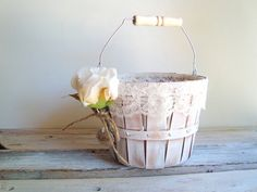 Wooden flower girl pail. personalized basket . shabby chic basket with ivory lace . country wedding . rustic wedding