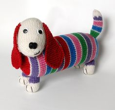 Animal toy knitting patterns: dachsund by penny connor