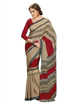 Beige and Maroon Color Crepe Casual Sarees : Bandhan Collection YF-18907