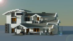 Modern style house made in minecraft.