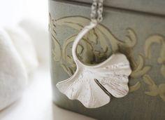 Silver Ginkgo Leaf Necklace by PolliniAtelier on Etsy, $20.00