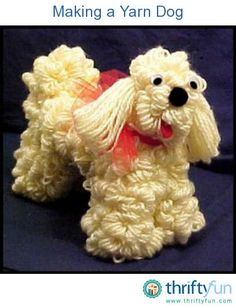 Use an old hanger and a skein of yarn to make a yarn dog. This is a guide for making a yarn dog.