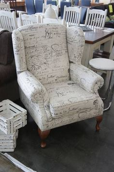 upholstered chair...would be cool to have a chair that guests signed!