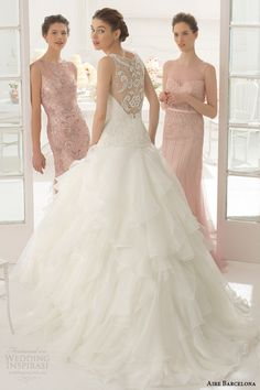 Aire Barcelona Wedding Dresses 2015 | Wedding Inspirasi -- amazing back with a flowing layered skirt