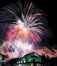 New Year's Eve fireworks over Aspen Mountain.