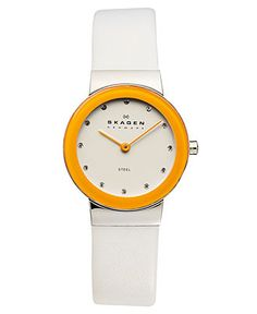 Skagen Denmark Watch, Women's White Leather Strap 26mm SKW2015 - Skagen Denmark - Jewelry & Watches - Macy's