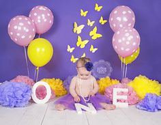 Cake Smash » Cotton Cloud Photography Purple yellow and pink smash the cake with butterflies - Sydney Australia