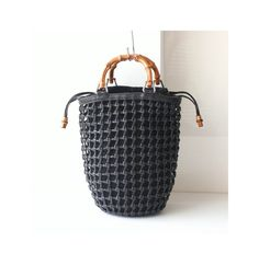 5ae667b8c91 Gucci bamboo Leather suede woven net tote handbag authentic vintage bag