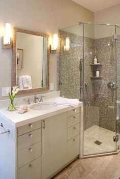 Corner shower = good use of small space. Also adds value to the home! Will remember this...