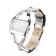 #Black PU Leather Band #Women's #Quartz #Wrist #Watch with #Crystal Decoration