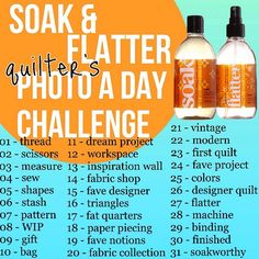 Soak & Flatter Quilter's Photo-A-Day Challenge Photo A Day Challenge, Instagram Challenge, Monthly Photos, Color Shapes, Inspiration Wall, Challenges, Fabric, Blogging, Quilt