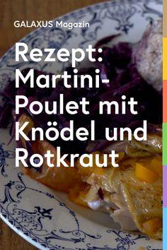 Der Martinstag wird in Österreich und Teilen Deutschlands auch Martini genannt. Traditionell kommt an diesem Tag eine gestopfte Gans auf den Tisch, serviert mit Knödel und Rotkraut. «Tönt geil», denkt sich unser Redaktor, eine Gans ist ihm aber zu viel des Guten. Daher hat er sie durch ein Poulet ersetzt. Die Grundlage für die Variante ist ein Rezept von Marcella Hazan. Statt mit Zitronen ist das Huhn traditionell mit Apfelstücken gefüllt. Martini, Marcella Hazan, Xmas Dinner, Kraut, Austria, Cooking, Recipes, Food, Gourmet