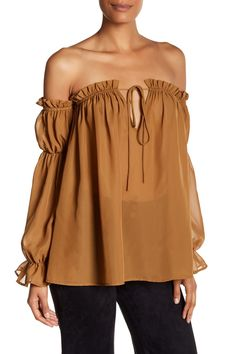Obsessed with this Tan S.H.E. Off-the-Shoulder Peasant Blouse