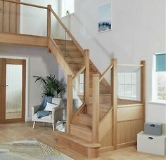 This striking transformation combines a contemporary clear glass balustrade with a solid oak handrail for a timeless look. Oak Handrail, Stair Banister, Staircase Storage, Staircase Design, Balustrades, Glass Balustrade, Bespoke Staircases, Architecture Design, Design Presentation