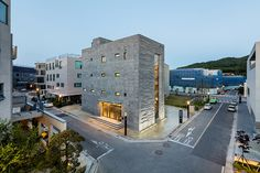 london-based creative practice daewha kang design has recently completed a mixed-used building in the paju book city of south korea - as a publishing HQ.