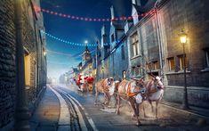 Download wallpapers 4k, Santa Claus, Christmas, sleigh, night, deer, New Year, Merry Christmas
