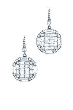 Nam Cho - White Gold White & Sapphire Diamond Drop Earrings | Mitchell Stores